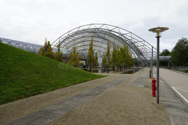 Η πόλη Stadt Λειψία Γερμανία Deutschland Messe εμπορικών εκθέσεων στοκ εικόνες