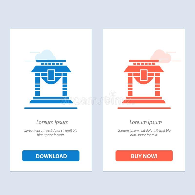 Η πόρτα, η γέφυρα, η Κίνα, κινεζικοί μπλε και το κόκκινο μεταφορτώνουν και αγοράζουν τώρα το πρότυπο καρτών Widget Ιστού διανυσματική απεικόνιση