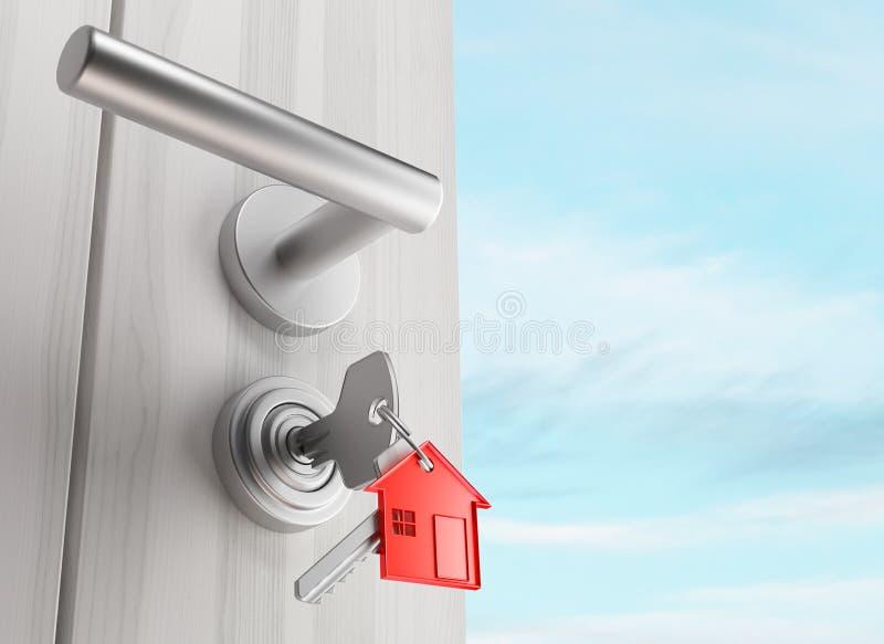 Η πόρτα με τα κλειδιά, νέο σπίτι, ανοικτό δωμάτιο, τρισδιάστατο δίνει την απεικόνιση διανυσματική απεικόνιση