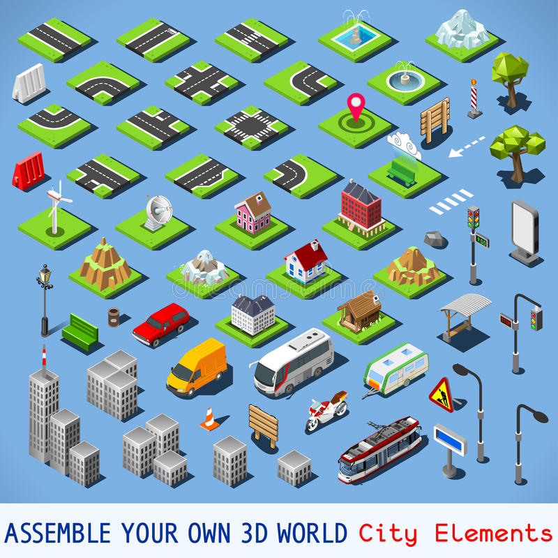 Η πόλη 01 ΟΛΟΚΛΗΡΩΝΕΙ καθορισμένος Isometric διανυσματική απεικόνιση