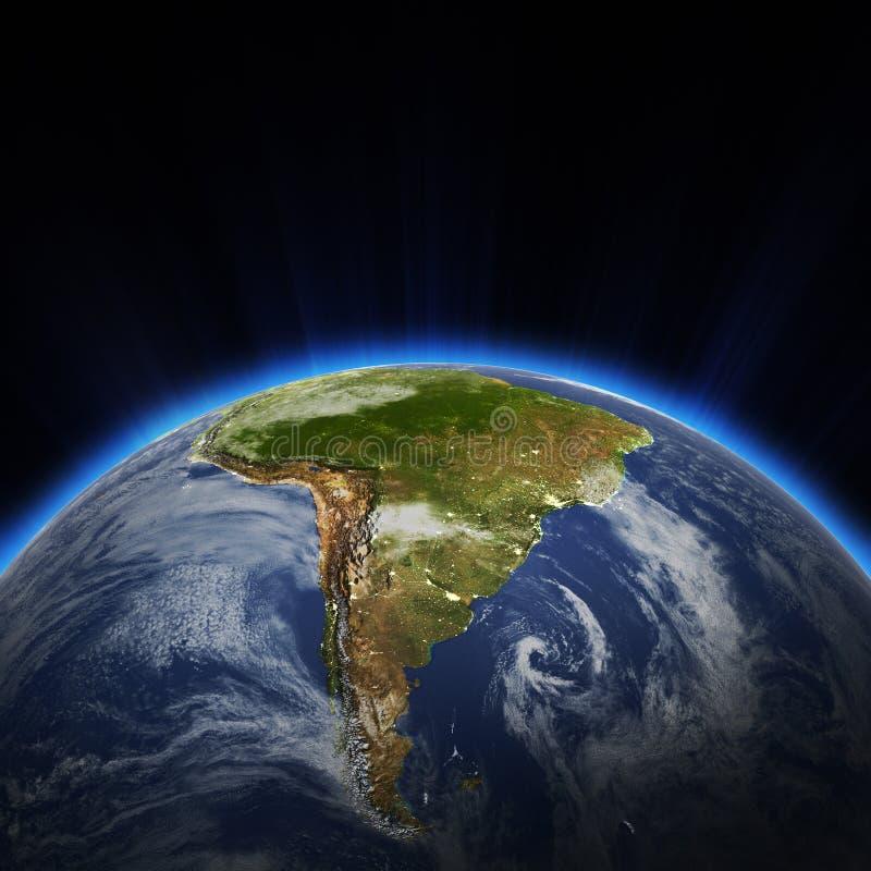 Η πόλη της Νότιας Αμερικής ανάβει τη νύχτα ελεύθερη απεικόνιση δικαιώματος