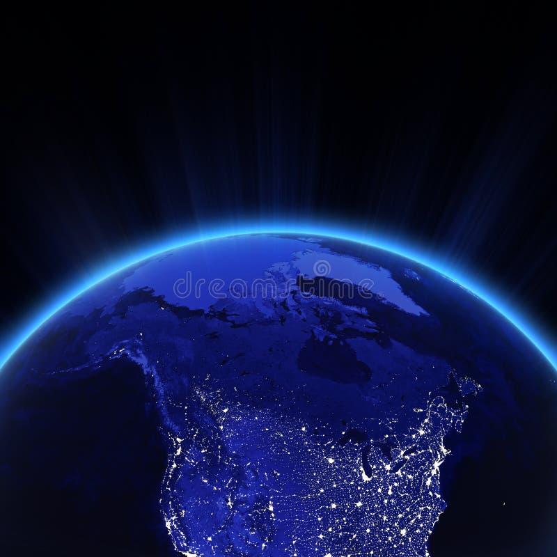 Η πόλη του Καναδά και των βόρειων ΗΠΑ ανάβει τη νύχτα απεικόνιση αποθεμάτων