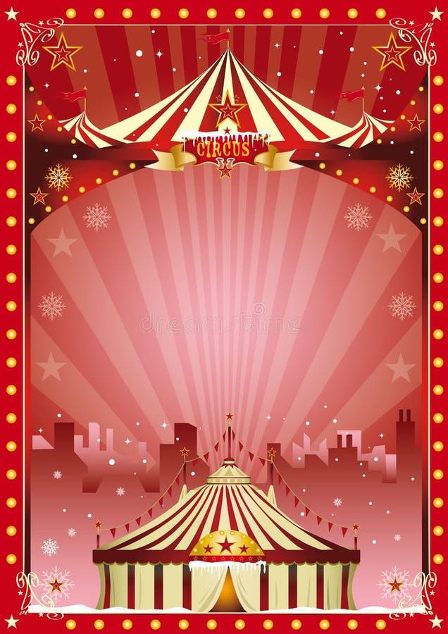 Η πόλη τσίρκων Χριστουγέννων αφισών παρουσιάζει απεικόνιση αποθεμάτων