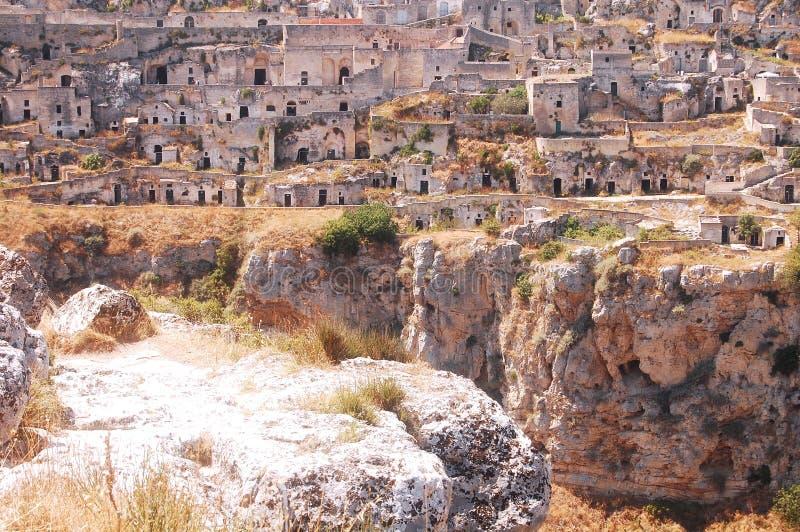 Η πόλη $matera στο Apulian Murgia - Apulia - την Ιταλία στοκ φωτογραφίες