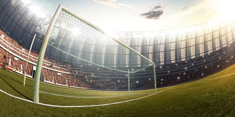Η πύλη σταδίων ποδοσφαίρου, photorealistic τρισδιάστατη απεικόνιση, τρισδιάστατη δίνει στοκ εικόνα με δικαίωμα ελεύθερης χρήσης