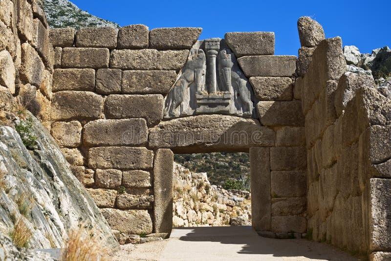 Η πύλη λιονταριών, Mycenae στοκ φωτογραφία