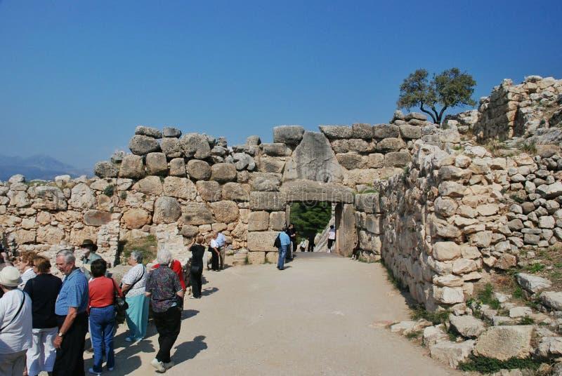 Η πύλη λιονταριών, Mycenae στοκ φωτογραφίες