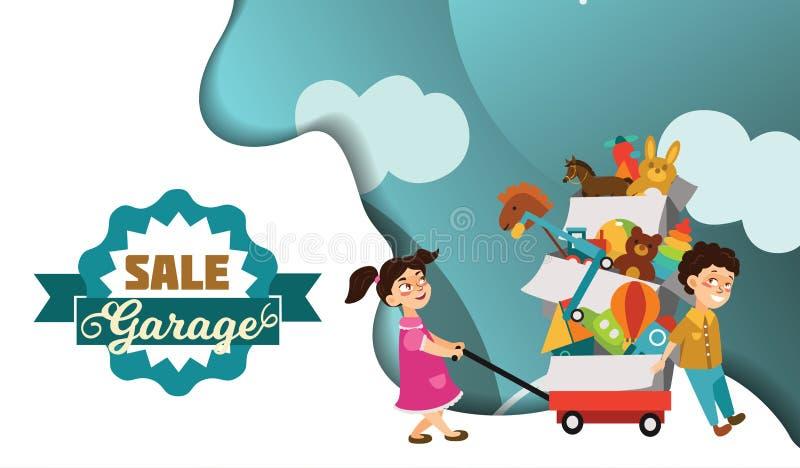 Η πώληση γκαράζ, το αγόρι και αγορασμένα τα κορίτσι παιχνίδια στην πώληση άνοιξη, παιδιά φέρνουν το κάρρο με χρησιμοποιημένο το κ ελεύθερη απεικόνιση δικαιώματος