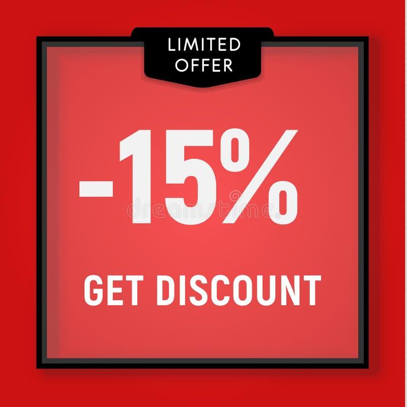 Η πώληση 15 τοις εκατό μακριά, παίρνει το κουμπί ιστοχώρου έκπτωσης Προθήκη, πίσω από το σχέδιο γυαλιού r διανυσματική απεικόνιση