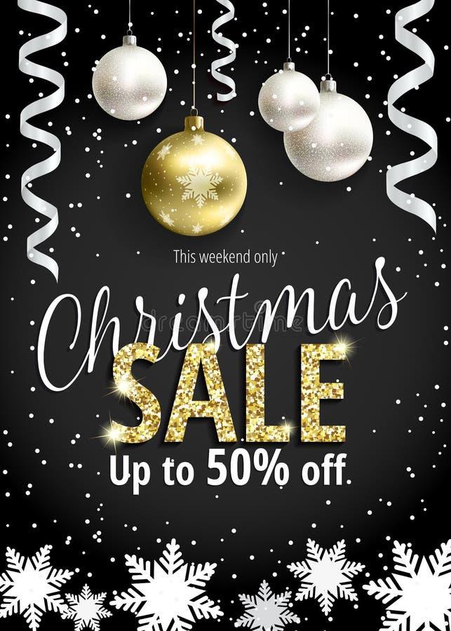 Η πώληση Χριστουγέννων Μαύρο έμβλημα για τον Ιστό ή το ιπτάμενο διανυσματική απεικόνιση