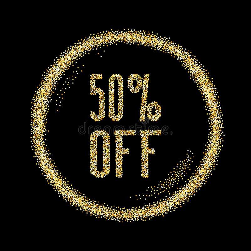 Η πώληση 50 τύπος έκπτωσης σε χρυσό ακτινοβολεί υπόβαθρο σπινθηρισμάτων διανυσματική απεικόνιση