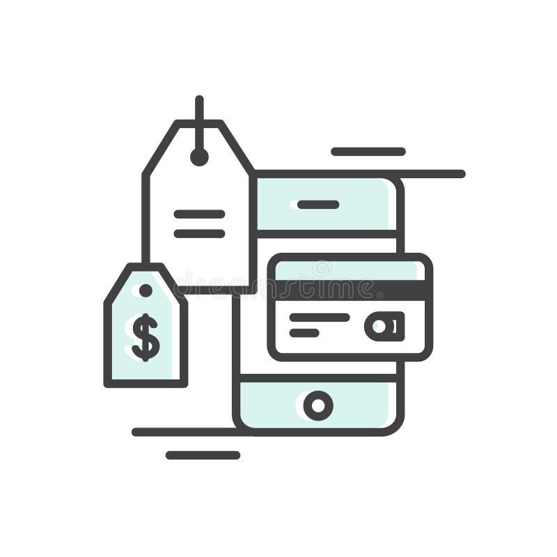 Η πληρωμή ηλεκτρονικής πίστωσης ή χρεωστικών καρτών μέσω του τερματικού, ηλεκτρονικό εμπόριο, ασύρματη σύνδεση, πληρωμή ασφάλειας διανυσματική απεικόνιση
