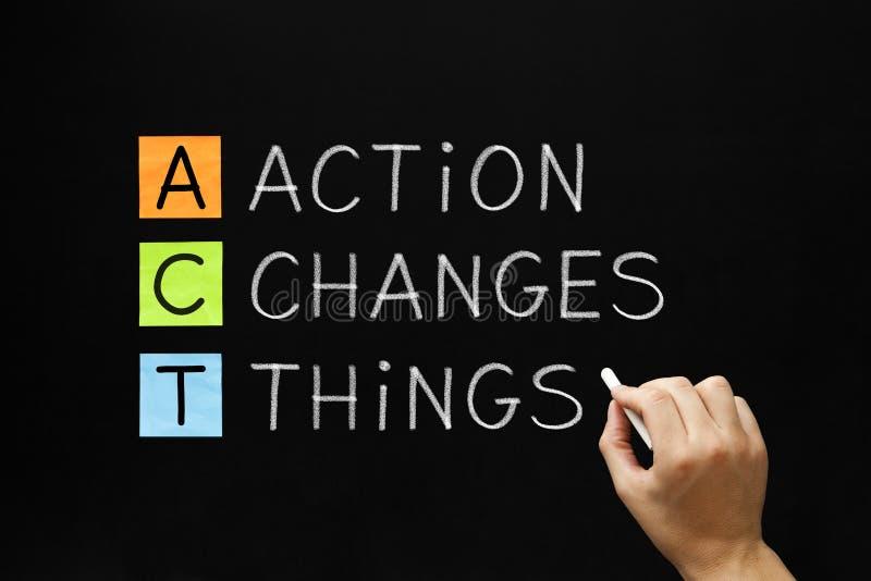 Η δράση αλλάζει το αρκτικόλεξο πραγμάτων στοκ εικόνα