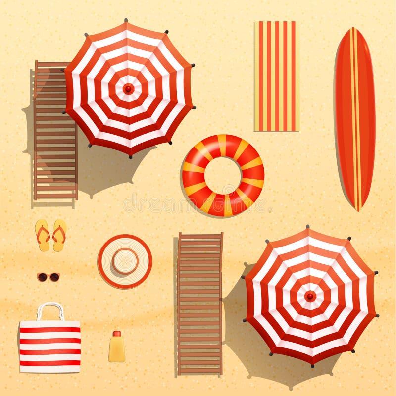 Η ρεαλιστική διανυσματική απεικόνιση αντικειμένων, ομπρέλες θαλάσσης, ιστιοσανίδα, πετσέτα, αργόσχολος, κολυμπά το δαχτυλίδι, τα  διανυσματική απεικόνιση