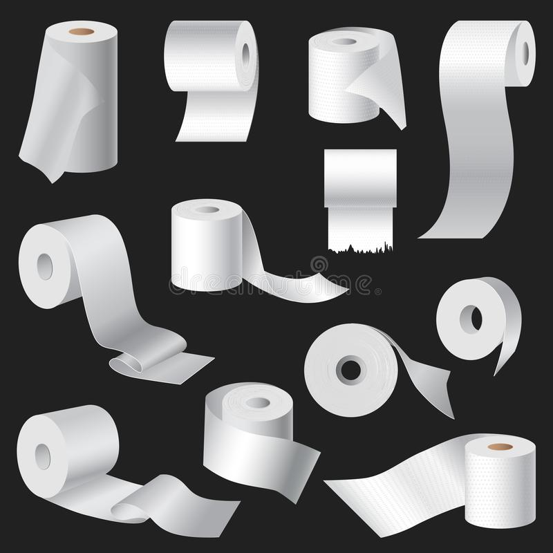Η ρεαλιστική πετσέτα χαρτιού τουαλέτας και κουζινών κυλά προτύπων κενή άσπρη τρισδιάστατη συσκευασία απεικόνισης προτύπων απομονω απεικόνιση αποθεμάτων