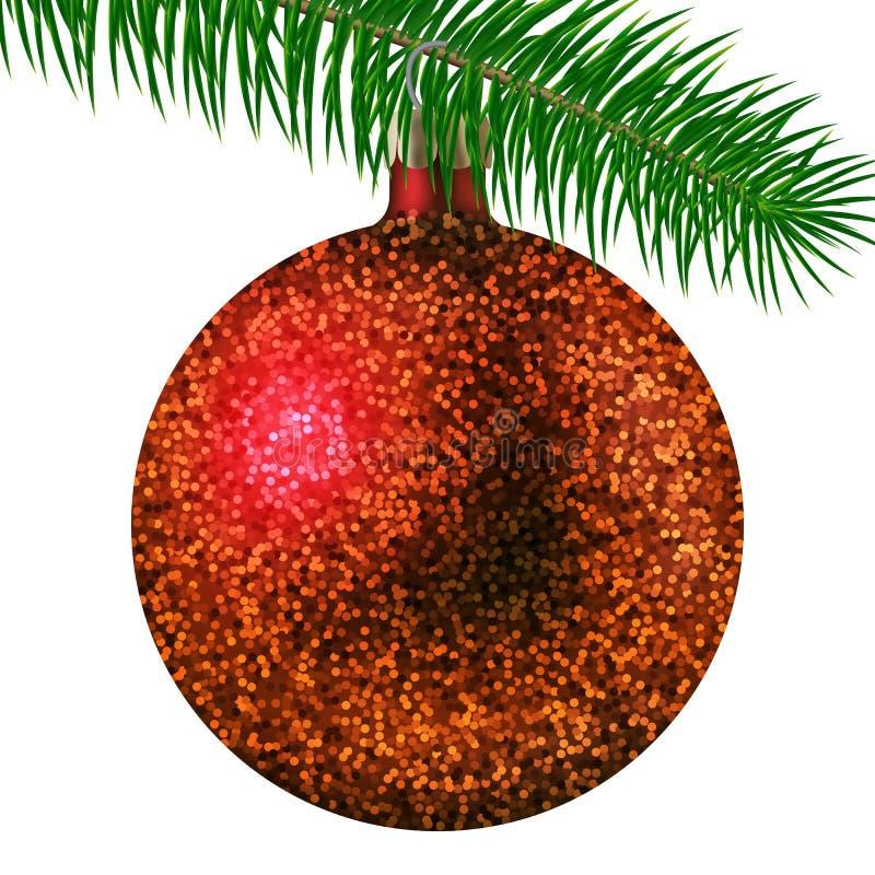 Η ρεαλιστικό κόκκινο σφαίρα ή το μπιχλιμπίδι Χριστουγέννων με ακτινοβολεί σπινθηρίσματα και κλάδος έλατου που απομονώνεται στο άσ ελεύθερη απεικόνιση δικαιώματος