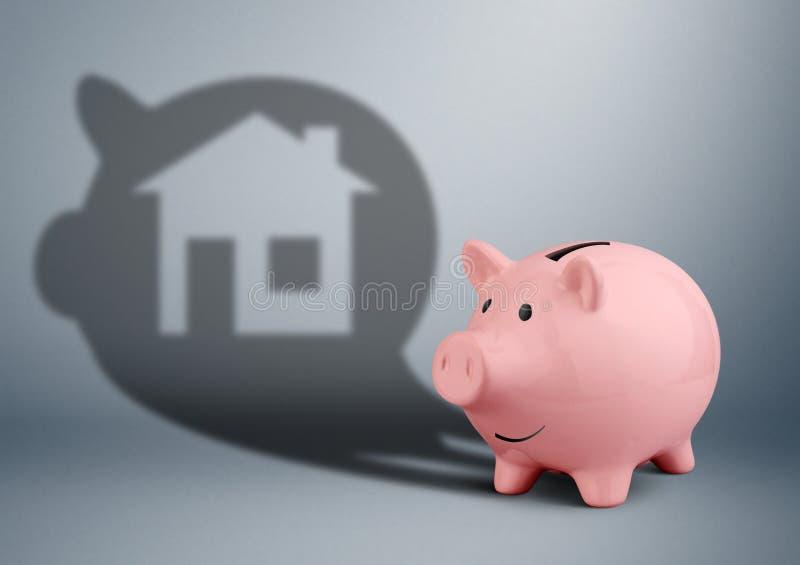 Η ρόδινη piggy τράπεζα με τη σκιά ως σπίτι, αποταμίευση για το σπίτι χρηματοδοτεί το γ στοκ εικόνες