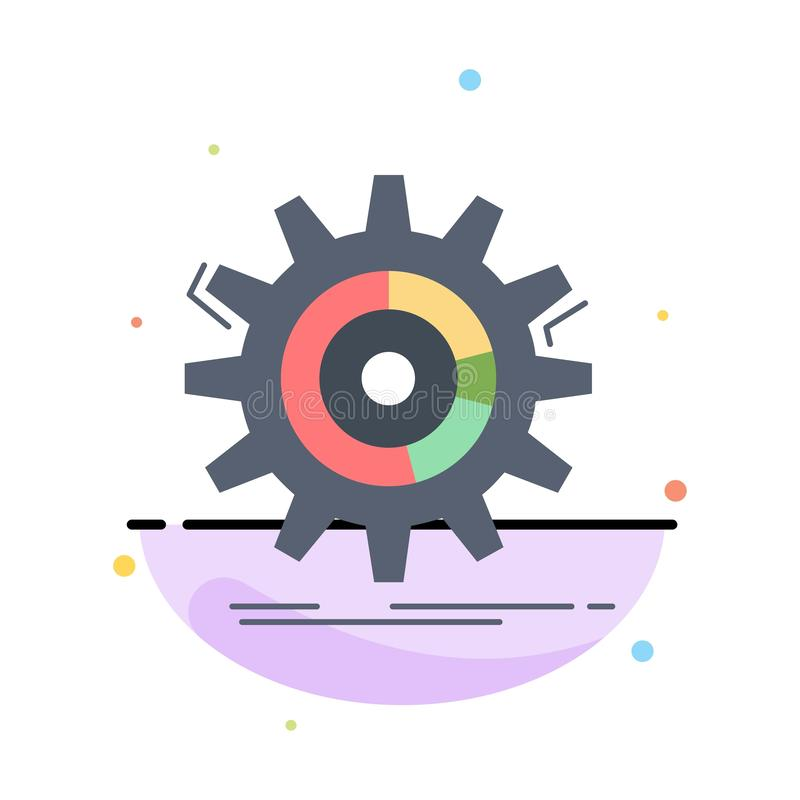 η ρύθμιση, στοιχεία, διαχείριση, διαδικασία, προχωρεί το επίπεδο διάνυσμα εικονιδίων χρώματος απεικόνιση αποθεμάτων