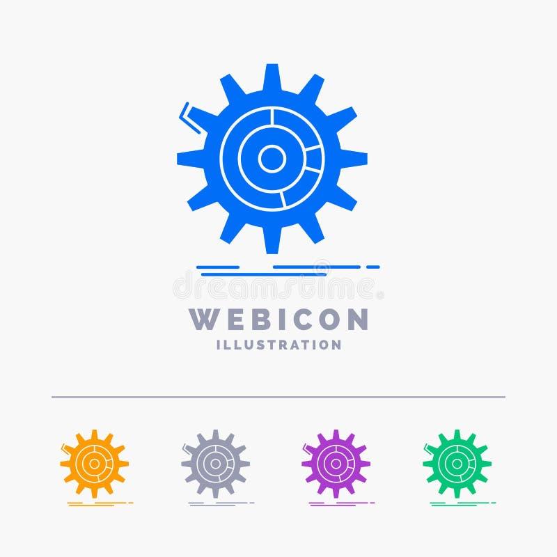 η ρύθμιση, στοιχεία, διαχείριση, διαδικασία, το πρότυπο εικονιδίων Ιστού Glyph 5 χρώματος που απομονώνεται προχωρεί στο λευκό r διανυσματική απεικόνιση