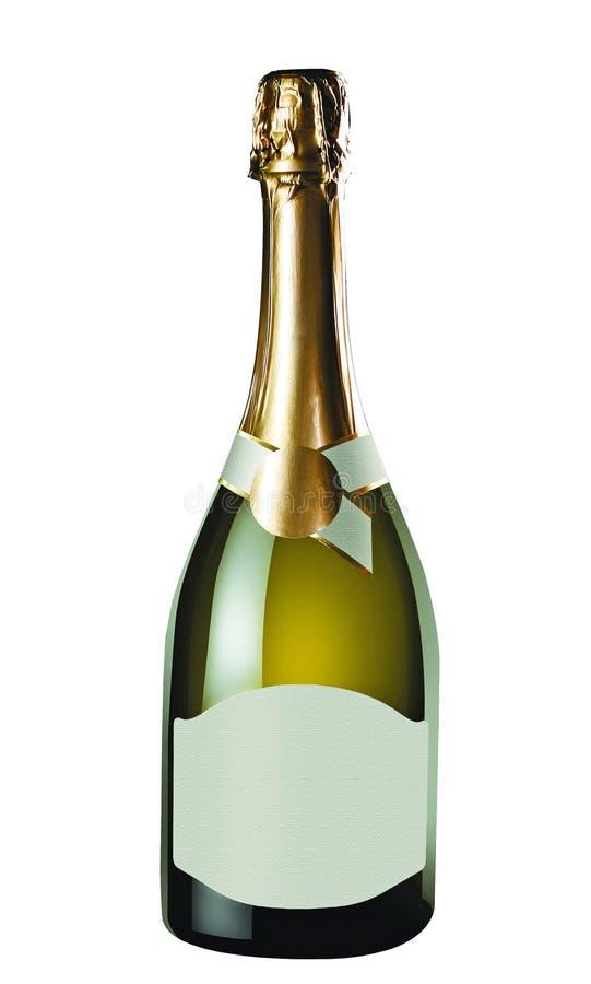 η σαμπάνια μπουκαλιών απομόνωσε το λευκό στοκ φωτογραφία με δικαίωμα ελεύθερης χρήσης