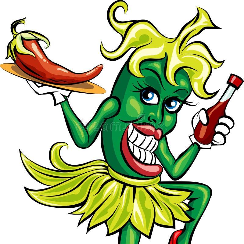 Η σερβιτόρα πιπεριών απεικόνιση αποθεμάτων