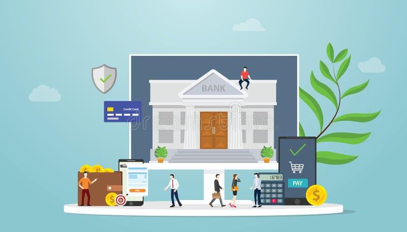 Η σε απευθείας σύνδεση έννοια τεχνολογίας τραπεζικής κινητή πληρωμής με τους ανθρώπους ομάδων και τα χρήματα χρηματοδοτούν - διάν απεικόνιση αποθεμάτων