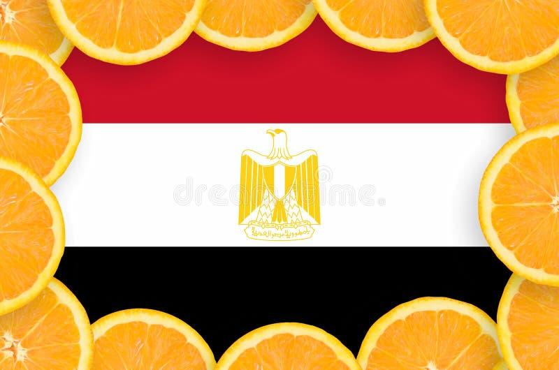 Η σημαία της Αιγύπτου στο φρέσκο εσπεριδοειδές τεμαχίζει το πλαίσιο στοκ φωτογραφίες