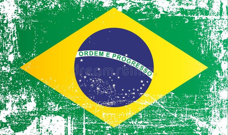 Η σημαία της Βραζιλίας, ομοσπονδιακή Δημοκρατία της Βραζιλίας, ζάρωσε τα βρώμικα σημεία διανυσματική απεικόνιση
