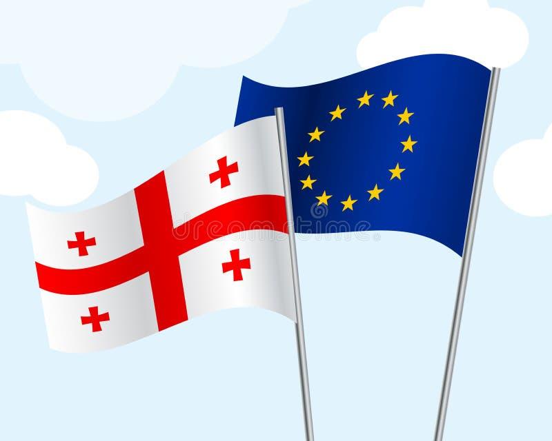 Η σημαία της Γεωργίας και η Ευρωπαϊκή Ένωση αναπτύσσονται στον αέρα σε ένα υπόβαθρο μπλε ουρανού με τα σύννεφα Συνεργασία έννοιας απεικόνιση αποθεμάτων