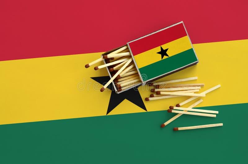 Η σημαία της Γκάνας παρουσιάζεται σε ένα ανοικτό σπιρτόκουτο, από το οποίο διάφορες αντιστοιχίες αφορούν και βρίσκονται μια μεγάλ στοκ εικόνες