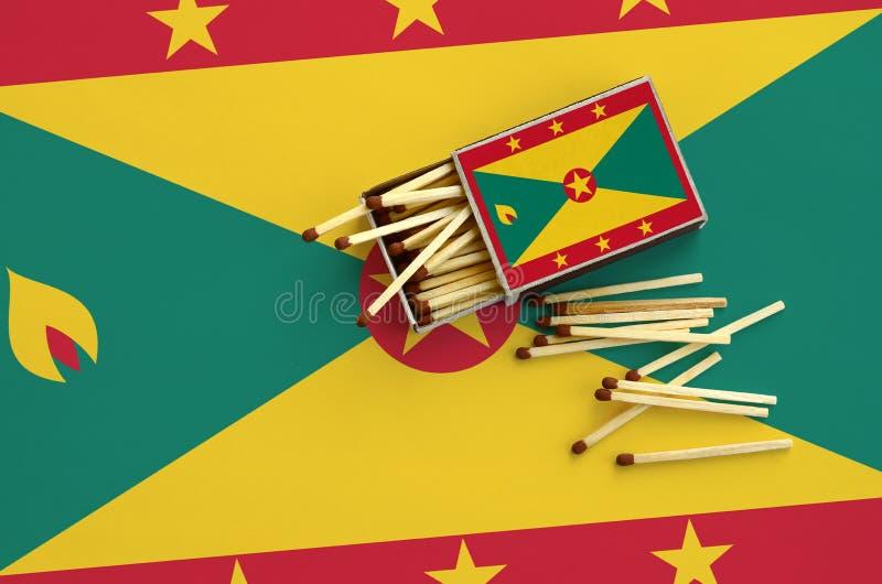 Η σημαία της Γρενάδας παρουσιάζεται σε ένα ανοικτό σπιρτόκουτο, από το οποίο διάφορες αντιστοιχίες αφορούν και βρίσκονται μια μεγ στοκ εικόνα