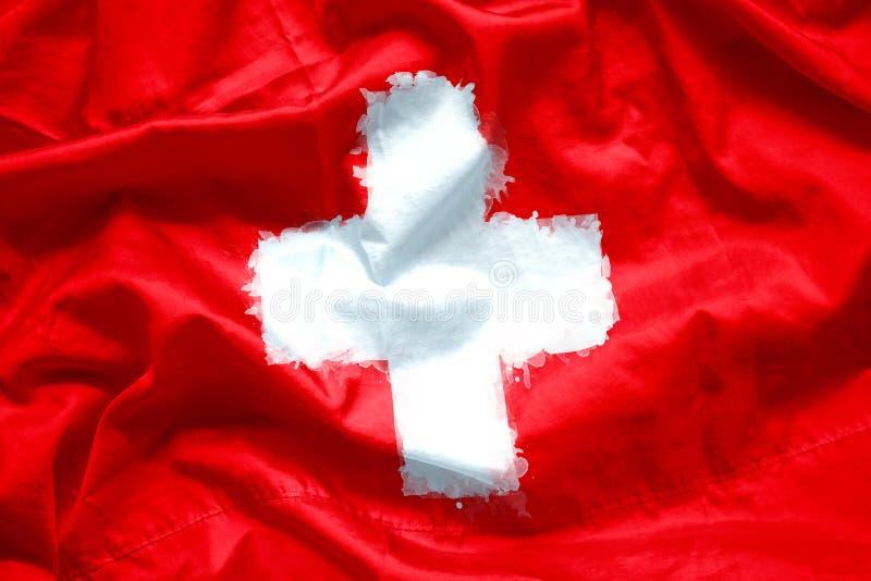 Η σημαία της Ελβετίας από τη βούρτσα χρωμάτων watercolor στο ύφασμα καμβά, grunge ορίζει στοκ εικόνες