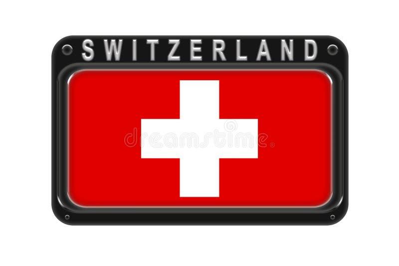 Η σημαία της Ελβετίας στο πλαίσιο με τα καρφιά στο άσπρο backgr διανυσματική απεικόνιση