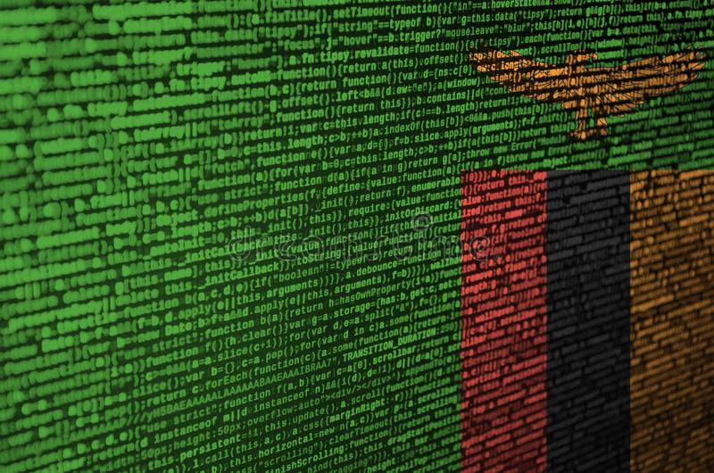 Η σημαία της Ζάμπια απεικονίζεται στην οθόνη με τον κώδικα προγράμματος Η έννοια της σύγχρονων τεχνολογίας και της ανάπτυξης περι στοκ φωτογραφίες με δικαίωμα ελεύθερης χρήσης