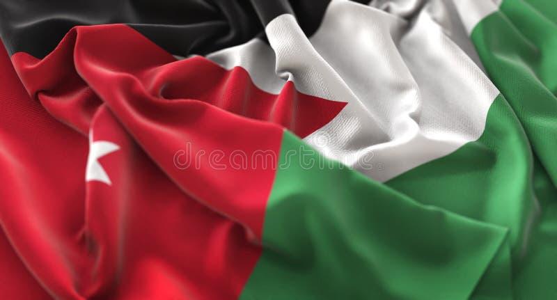 Η σημαία της Ιορδανίας αναστάτωσε τον υπέροχα κυματίζοντας μακρο πυροβολισμό κινηματογραφήσεων σε πρώτο πλάνο στοκ εικόνα