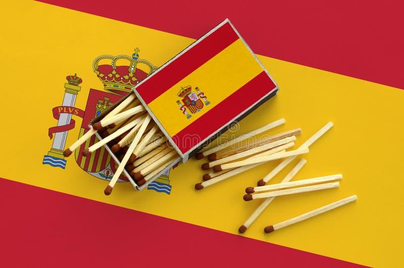 Η σημαία της Ισπανίας παρουσιάζεται σε ένα ανοικτό σπιρτόκουτο, από το οποίο διάφορες αντιστοιχίες αφορούν και βρίσκονται μια μεγ στοκ εικόνες
