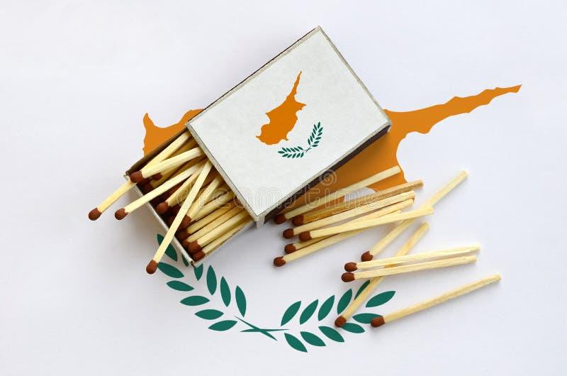 Η σημαία της Κύπρου παρουσιάζεται σε ένα ανοικτό σπιρτόκουτο, από το οποίο διάφορες αντιστοιχίες αφορούν και βρίσκονται μια μεγάλ στοκ εικόνες