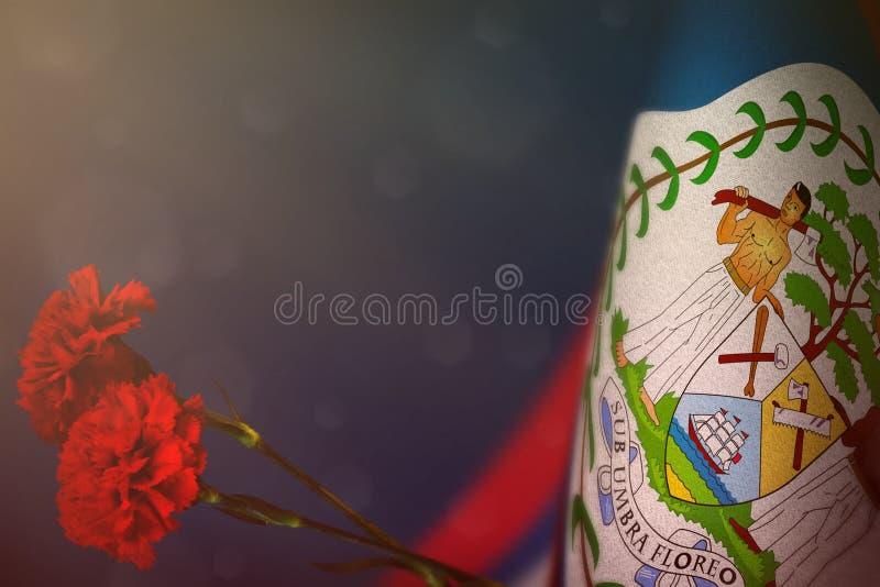Η σημαία της Μπελίζ για την τιμή των παλαιμάχων ή της ημέρας μνήμης με το κόκκινο γαρίφαλο δύο ανθίζει Δόξα στους ήρωες της Μπελί στοκ φωτογραφία με δικαίωμα ελεύθερης χρήσης
