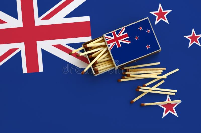 Η σημαία της Νέας Ζηλανδίας παρουσιάζεται σε ένα ανοικτό σπιρτόκουτο, από το οποίο διάφορες αντιστοιχίες αφορούν και βρίσκονται μ στοκ φωτογραφίες με δικαίωμα ελεύθερης χρήσης