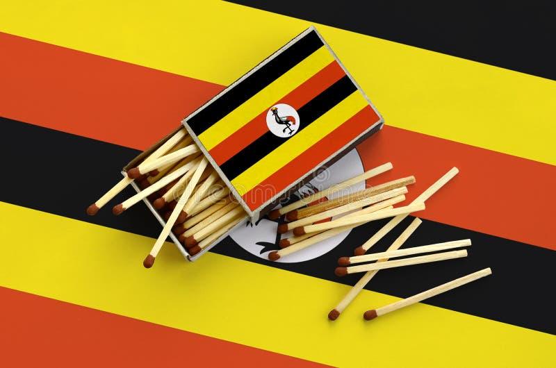 Η σημαία της Ουγκάντας παρουσιάζεται σε ένα ανοικτό σπιρτόκουτο, από το οποίο διάφορες αντιστοιχίες αφορούν και βρίσκονται μια με στοκ εικόνες με δικαίωμα ελεύθερης χρήσης