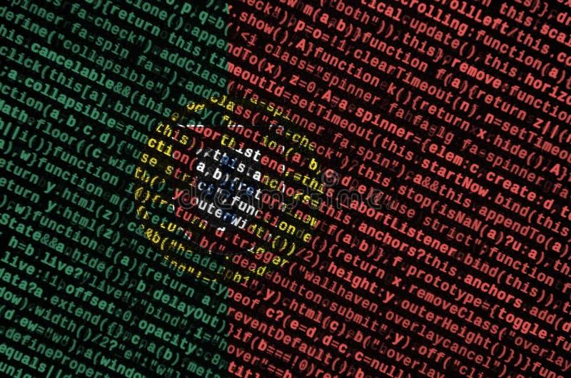 Η σημαία της Πορτογαλίας απεικονίζεται στην οθόνη με τον κώδικα προγράμματος Η έννοια της σύγχρονων τεχνολογίας και της ανάπτυξης στοκ εικόνα με δικαίωμα ελεύθερης χρήσης
