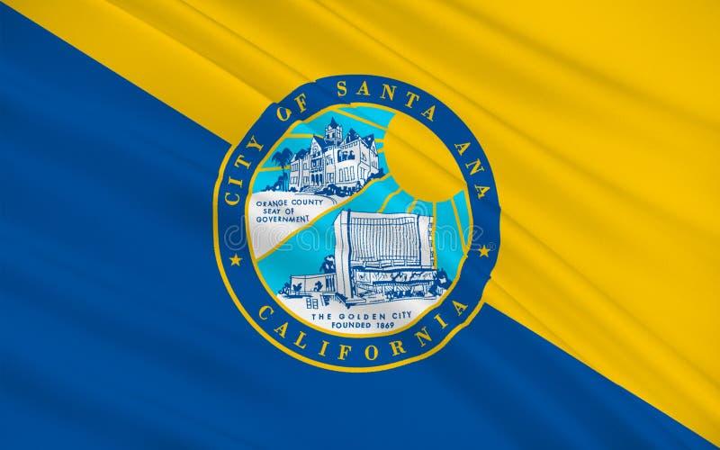 Η σημαία της Σάντα Άννα είναι κάθισμα νομών της Κομητείας Orange, Καλιφόρνια, U διανυσματική απεικόνιση