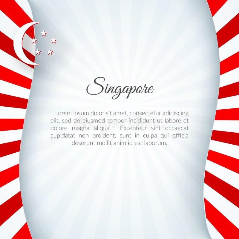 Η σημαία της Σιγκαπούρης εμβλημάτων σε ένα άσπρο υπόβαθρο έκαμψε τις κόκκινες γραμμές σχεδίων με το πατριωτικό υπόβαθρο της Σιγκα απεικόνιση αποθεμάτων