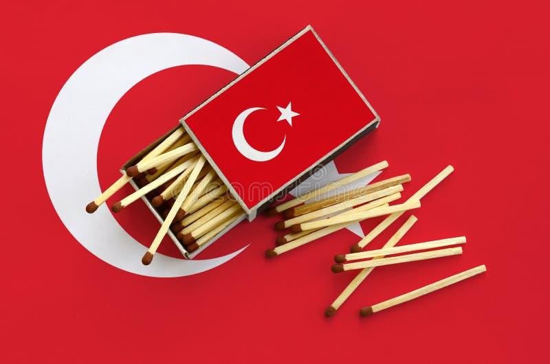 Η σημαία της Τουρκίας παρουσιάζεται σε ένα ανοικτό σπιρτόκουτο, από το οποίο διάφορες αντιστοιχίες αφορούν και βρίσκονται μια μεγ στοκ φωτογραφία