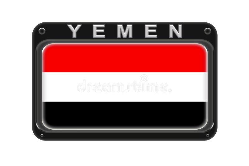 Η σημαία της Υεμένης στο πλαίσιο με τα καρφιά στο άσπρο υπόβαθρο απεικόνιση αποθεμάτων