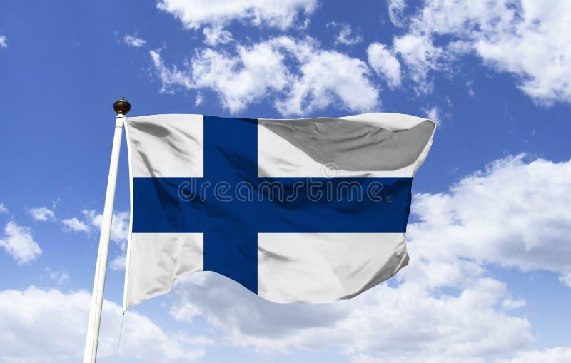 Η σημαία της Φινλανδίας, έχει έναν μπλε, σκανδιναβικό σταυρό στοκ φωτογραφίες