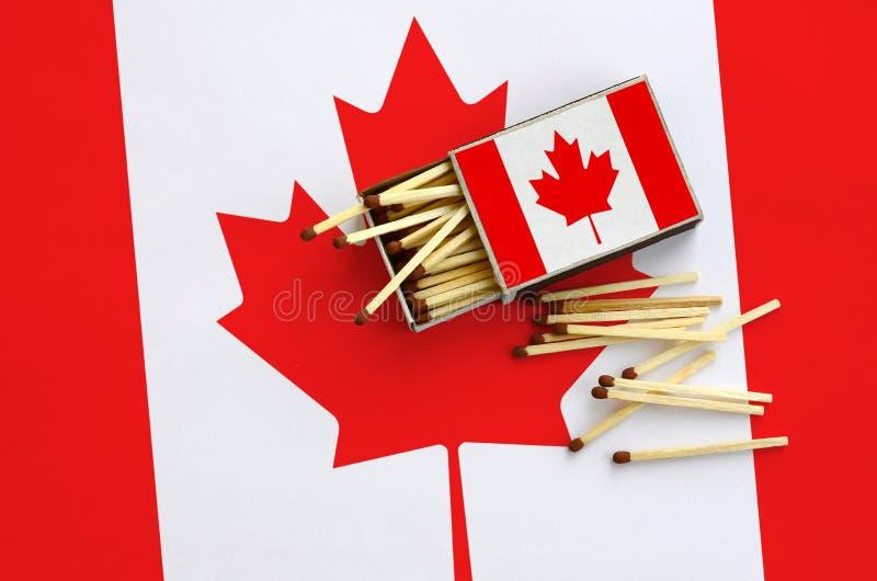 Η σημαία του Καναδά παρουσιάζεται σε ένα ανοικτό σπιρτόκουτο, από το οποίο διάφορες αντιστοιχίες αφορούν και βρίσκονται μια μεγάλ στοκ εικόνες με δικαίωμα ελεύθερης χρήσης