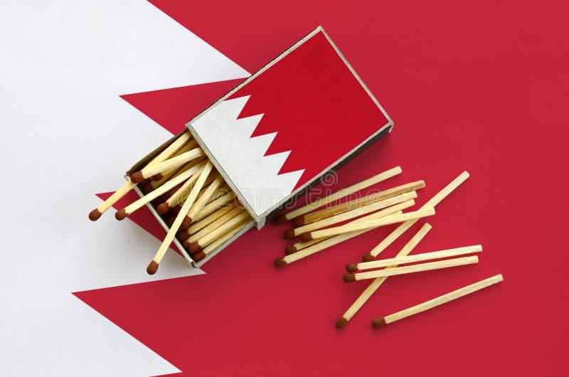 Η σημαία του Μπαχρέιν παρουσιάζεται σε ένα ανοικτό σπιρτόκουτο, από το οποίο διάφορες αντιστοιχίες αφορούν και βρίσκονται μια μεγ στοκ φωτογραφίες
