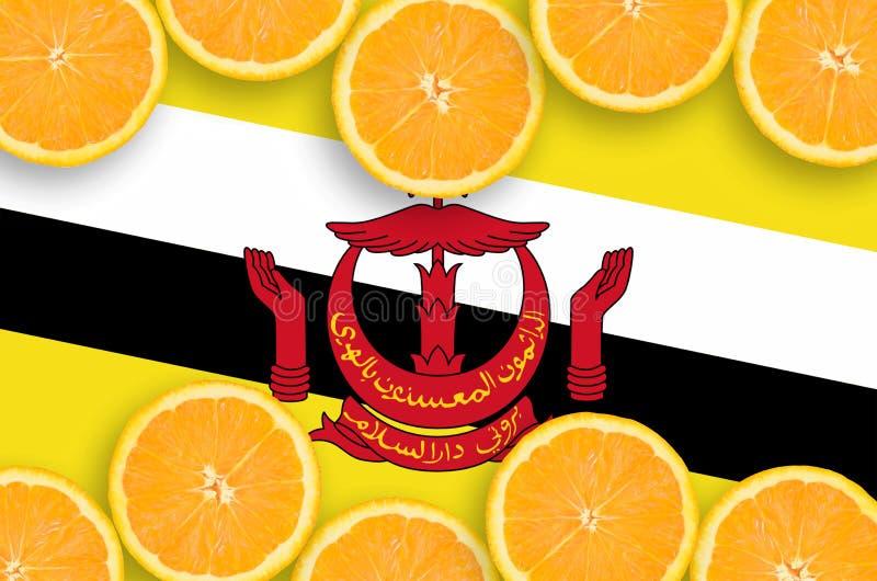 Η σημαία του Μπρουνέι Darussalam στο εσπεριδοειδές τεμαχίζει το οριζόντιο πλαίσιο στοκ φωτογραφία με δικαίωμα ελεύθερης χρήσης