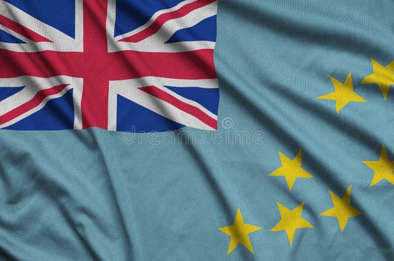 Η σημαία του Τουβαλού απεικονίζεται σε ένα ύφασμα αθλητικών υφασμάτων με πολλές πτυχές Έμβλημα αθλητικών ομάδων στοκ φωτογραφία με δικαίωμα ελεύθερης χρήσης